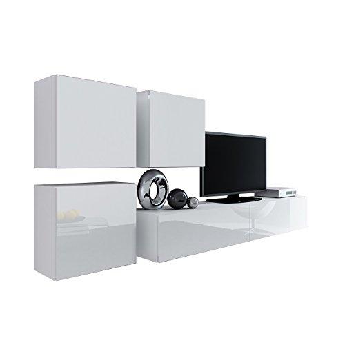 Wohnwand Vigo XXIII, Design Mediawand, Modernes Wohnzimmer Set, Anbauwand, Hängeschrank TV Lowboard, (Weiß/Weiß Hochglanz)