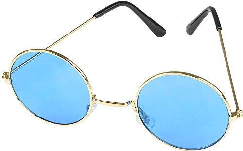 Rhode Island Novelty Round Color Lens Sunglasses 1 Pair of Blue Glasses