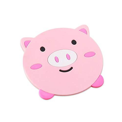 Posavasos de silicona resistente al calor con forma de dibujos animados, soporte antideslizante para ollas, accesorios de cocina (color: cerdo, tamaño: como se muestra)