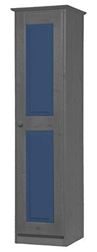Vicenza Una Porta, Armadio in Pino Massiccio Colore: Grafite & Colore: Blu