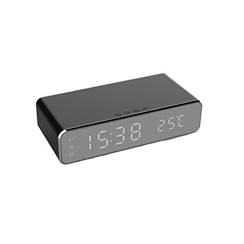 SKTE Reloj Despertador Digital con función de Carga inalámbrica para teléfono móvil, Reloj Despertador con Espejo multifunción, Temperatura Interior y Volumen de Alarma Ajustable