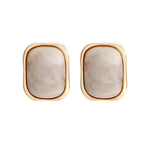 EHYJASD Quadratischer Ring mit vier Strängen, geometrisch, Ring Farbe Kaffee, Ohrringe, Temperatur, lang, kleine Ohrringe, hohe Qualität