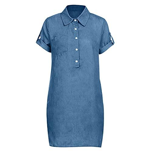 Cantissa Damen Kurzarm Einfarbig Slim Revers Denim Kleid V-Ausschnitt Knielanges Kleid