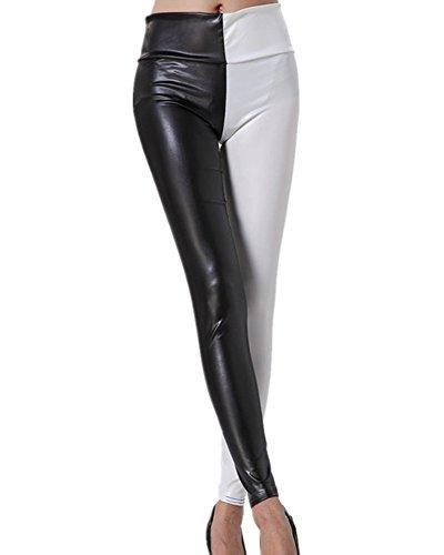 Gladiolus Mujer Pantalón Símil Cuero Pantalone De Cintura Alta Leggings Cuero PU Pantalon Leggins