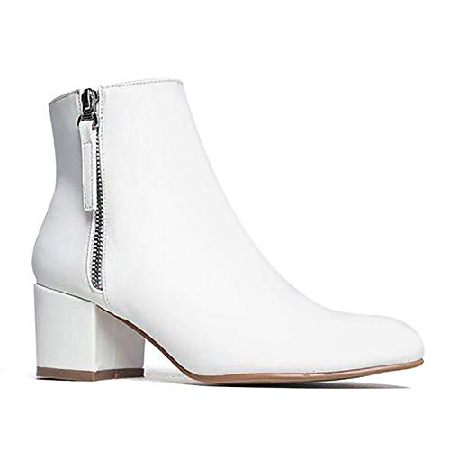 J. Adams Zuma Booties for Women - White Faux Leather Pointed Toe Low Heel - 6.5