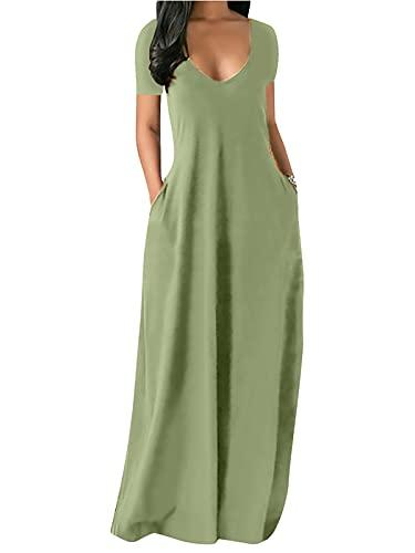 Onsoyours Vestido Mujer Bohemio Largo Verano Playa Fiesta Casual Vestido de Cóctel de Noche Color Sólido Falda Larga Cami Vestidos B Verde01 M