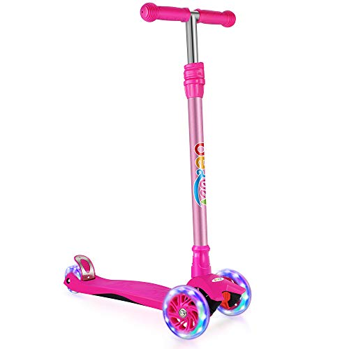BELEEV Kick Scooter for Kids 3 Wheel Scooter for Toddlers Girls amp Boys 3 Adjustable Height Lean to Steer with PU LED Light Up Wheels for Children from 3 to 12 Years OldRose Pink