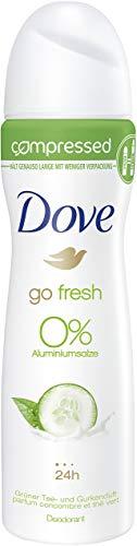 Dove go fresh Gurken und Grüner Tee Duft 0Prozent Aluminiumsalze compressed, Deospray, 6er Pack (6 x 75 ml)