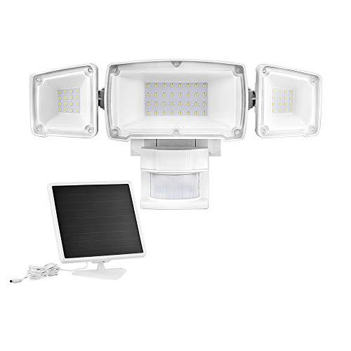 RICH SOLAR Solar Motion Activated Security Light 1600 Lumens Triple Heads Solar Light (White)