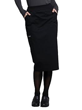 Workwear Professionals Women Scrubs Skirt 30  Knit Waistband WW510 L Black