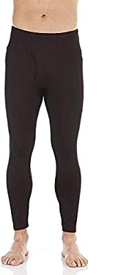 Bodtek Mens Thermal Underwear Pants Premium Long Johns Fleece Lined Base Layer Bottom (Black, Large)