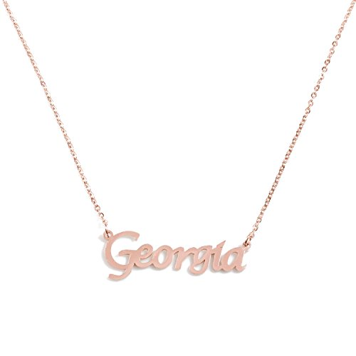 Kigu Georgia Personalized Name - 18ct Rose Gold Plated Necklace - Adjustable Chain 16' - 19' Packaging
