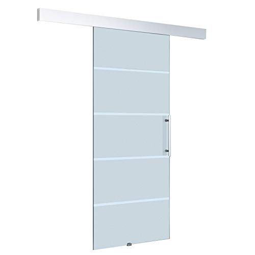 HOMCOM Glasschiebetür Schiebetür Tür Zimmertür mit Griffstange einseitig satiniert mit Streifen 2050x 1025 mm