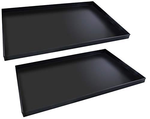 FMprofessional Pizzablech-Set 60x40 cm, eckige from ideal für Pizza, Backblech ist hitzebeständig bis 400°C, rechteckiges Blech aus Blaublech (Farbe: Schwarz), Menge: 1 x 2 Stück