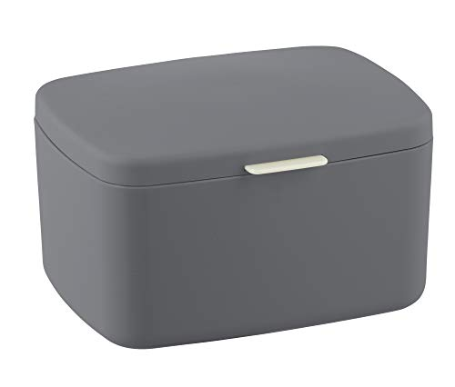 WENKO Badbox Barcelona mit Deckel - Aufbewahrungskorb, Badkorb mit Deckel, absolut bruchsicher, 19,5 x 11 x 16 cm, anthrazit