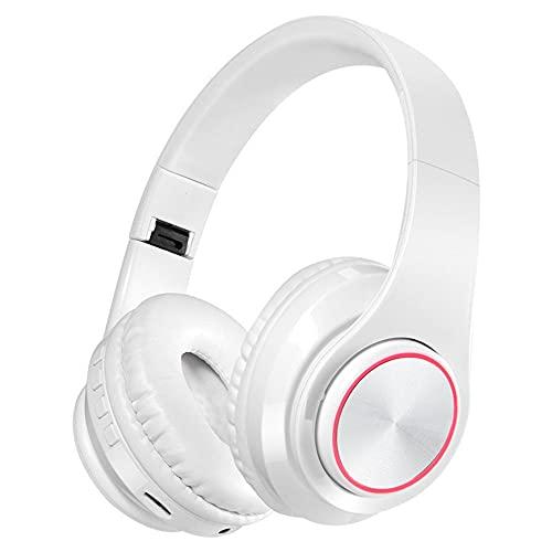 ysgbaba Auricular Inalámbrico Bluetooth Auriculares Deportes Auriculares Plegables Estéreo Ejecutar Teléfono Móvil Auricular Bluetooth (Color : White)