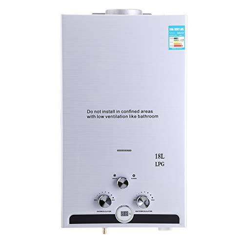 Z ZELUS 18L Calentador de Agua LPG Calentador de Agua Instantáneo 36KW Calentador de Agua de Gas Licuado de Petróleo sin Tanque (18L)