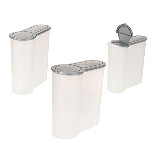 Juego de 3recipientes ToCicon dispensador, domésticos, en 3tamaños con 4,0 l, 2,4 l, 1,3 l, color: gris transparente