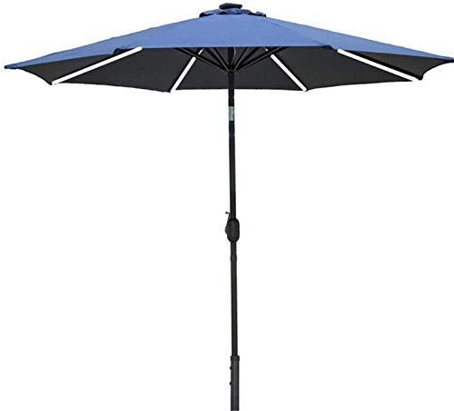 Sombrilla Parasol Jardin Paraguas de parasol de jardín de 2.5m con barra de luz solar Barra de bobinado y función de inclinación Patio al aire libre Playa Sun Shade, azul, sin parasol base a prueba de
