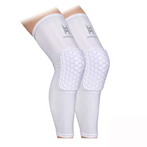 Knee Compression Sleeves Knee Braces Compression Leg Sleeve for Basketball, Volleyball, Weightlifting, and More - Pair of Sleeves Knee Pads Compression Leg (EVA-WHITE-L)