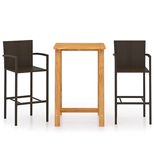 Tidyard Set 3 pz da Bar da Giardino per Esterno in Polyrattan e Legno,Set Tavolo e Sedie da Bar Alti da Giardino in Polyrattan,Set Tavolo Quadrato Legno 2 Sedie con Braccioli da Bar per Esterno