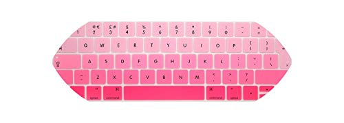 EU/UK English Layout Silicone Keyboard Cover Skin Protector for MacBook Pro 13' 15' Retina With TouchBar (2016 2018 Release),Gradient Pink