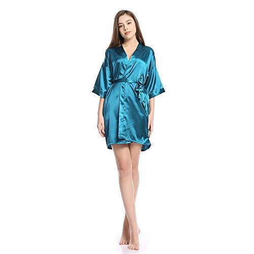 Forall-Ms Kimono Satinado Bata, Ropa De Dormir De Seda para Las Mujeres...