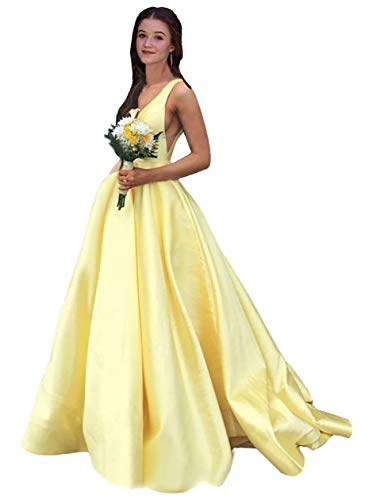 Rjer V Neck Prom Dresses Long A line Satin Ball Gowns with Pockets for Women Formal 2020 Yellow Size 4
