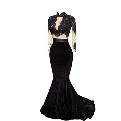 Sweet Bridal Women's Long Sleeve Evening Gowns High Neck Mermaid 2 Piece Prom Dresses Black US2 (Apparel)