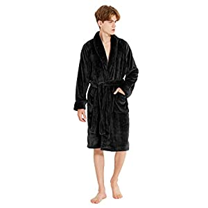 DAVID ARCHY Men's Soft Fleece Plush Robe Full Length Long and Knee Length Big and Tall Bathrobe