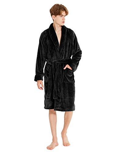 DAVID ARCHY Men's Fleece Robe Ultra Soft Plush Shawl Collar 3/4 Length Long Bathrobe (L, Heather Dark Gray Stripe)