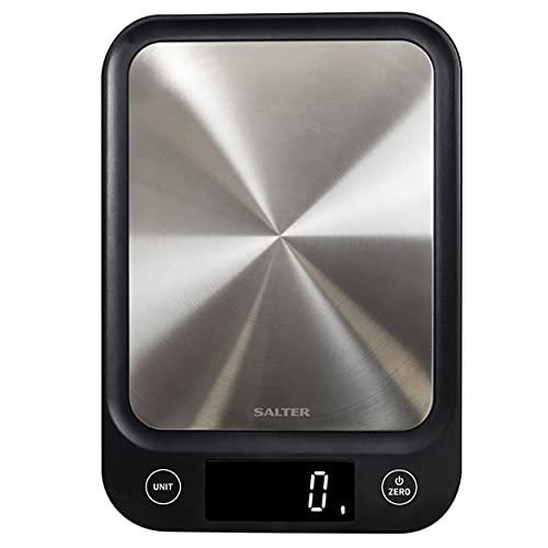 Salter Balance de cuisine electronique digitale ultra mince - Plateau en acier inoxydable - Pesez les aliments avec précision jusqu'à 5 kg, liquides en ml et en fl. Oz. - Garantie 15 ans