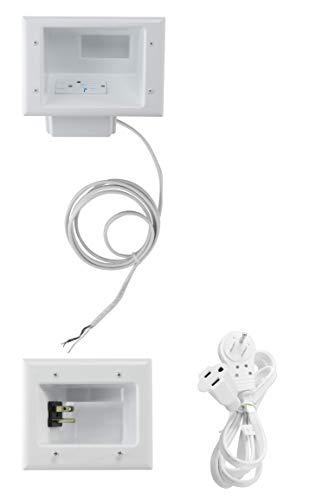 DataComm Electronics 50-8823-WH-KIT Flat Panel TV Cable Organizer Kit with Duplex Surge Power Solution