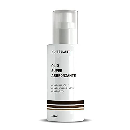 Suisse Lab Aceite súper bronceador | acelerador bronceado y activador de melanina con aceite de almendras, vitamina A y betacaroteno | 100% natural | Fabricado en Italia | 100 ml