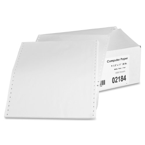Sparco Feed Paper, Continuous, Plain, 1-Part, 9.5 x 11 Inches, with perforations  1000/Count, WE - SPR02184