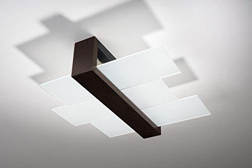 Sollux Lighting NEU Wenge für das Wohnzimmer und das Vorzimmer-Glas und Holz-SOLLUX FENIKS 2 SL.0074 quadratische Moderne Deckenleuchte 2-FLG. LED E-27 LEUCHTEN-Bei Amazon für den günstigsten Preis
