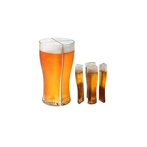 JUYAFEI Vaso De Cerveza Super Schooner,Vasos De Cerveza Acrílicos 4 En 1,Resistente Y Duradero,con Ranuras Verticales,Reutilizable,Apto para Reuniones Familiares Navideñas,Etc. (1 Set)