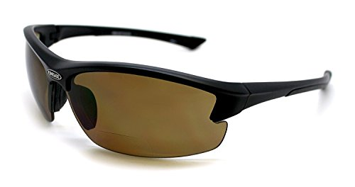 Renegade Patented Bifocal Polarized Reader Half Rim Men's Fishing Sunglasses 100% UV Protection with Microfiber Bag (Matt Black Frame, Brown Lens - 613649, Bifocal +2.50)