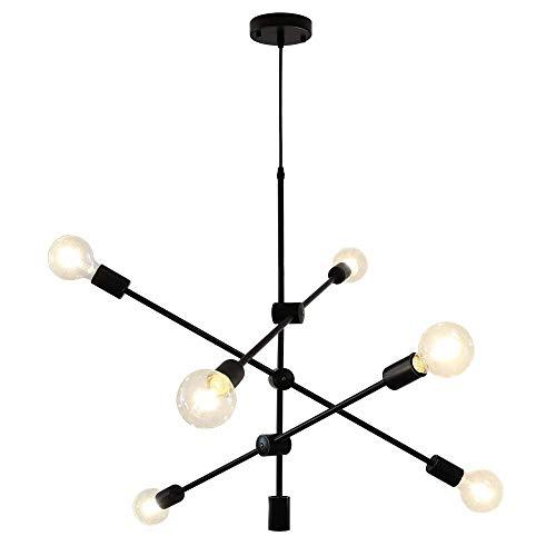 LynPon Sputnik Lámparas de araña 6 Luces Contemporáneo Luminaria de techo Negro Industrial Vintage Colgante Metal ligero Comedor Cocina Isla Dormitorio Iluminación