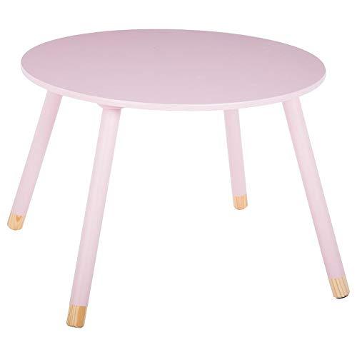 Mesa redonda de madera para niños - Color Rosa