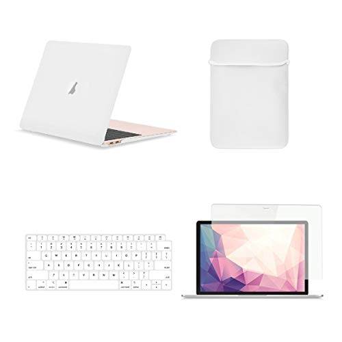 TOP CASE MacBook Air 13 Inch Case A1932/A2179 with Retina Display fits Touch ID 2020 2019 2018 Release, 4 in 1 Bundle Rubberized Hard Case, Keyboard Cover, Sleeve, Screen Protector - Satin White