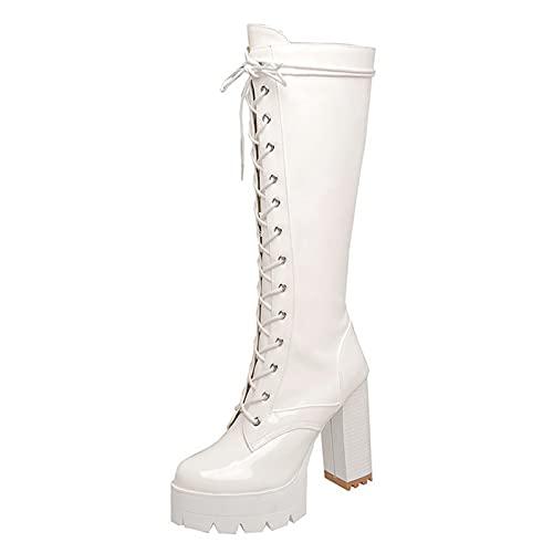 BeAUZQ Botines sexy para mujer, de piel de patente, color blanco, hasta la rodilla, con cordones, plataforma, zapatos de tacón alto, para discoteca, fiesta, color blanco, 34