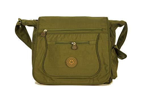 Gabaara Damen Schultertasche Nylon mit Überschlag Umhängetasche in 5 Farben Leicht mit Viele Fächern Sporttasche (Grün)