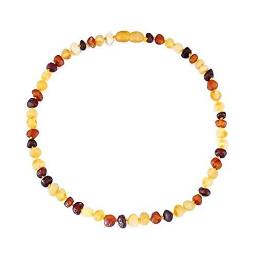 Amber Baltic Amber Pulsera/Toblet Hecho a Mano, Regalos para Adultos - Multicolor crudo-20 cm Grande