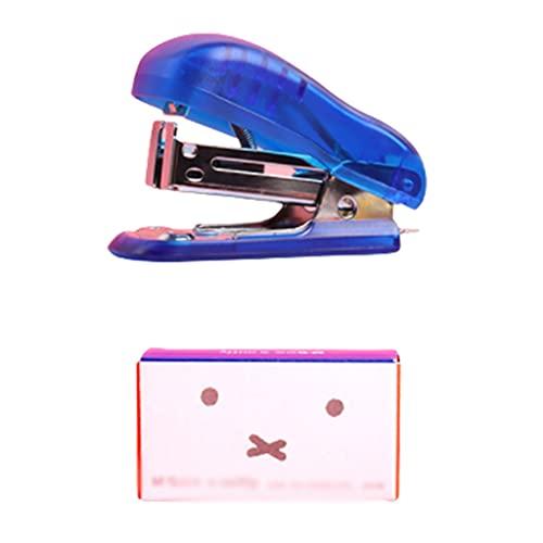 Settapler Set Mini sostiene 50 Grapas con 640 Grapas de Grapas portátiles Máquina de la Grapadora de Seguridad 25 Hoja Capacidad (Color : Blue)