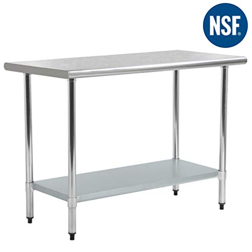 FDW Kitchen Work Table Stainless Steel Metal Commercial NSF Scratch Resistent and Antirust Work Table with Adjustable Table Toot,24 X 48 Inchs