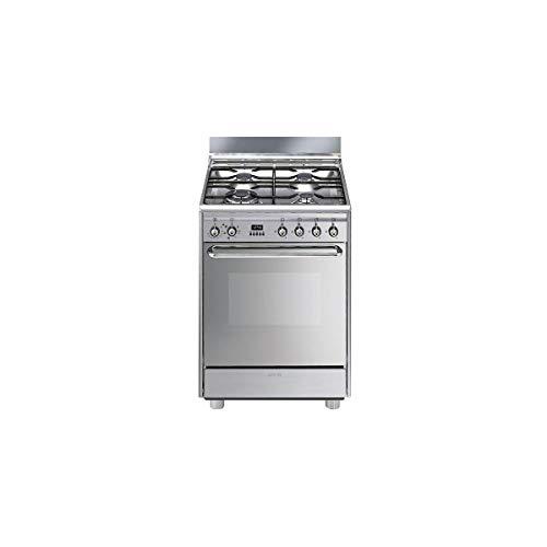 Cuisiniere gaz Smeg SCB60MX9 - Inox - Plaque Gaz / Four Electrique Multifonction - Vapor Clean - Porte Froide - Porte tempérée