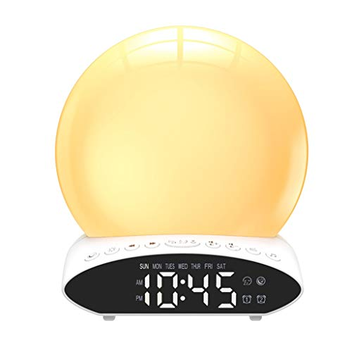 Proyector De Luz Nocturna,Reloj Despertador Digital Con Luz LED De Mesa, Despertador Electrónico Sunrise, Alarma, Posponer Los Relojes, Radio FM