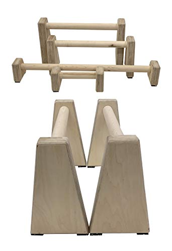Barbarian Range Wooden Parallettes Parallel Bars Made from Hardwood Multiple Sizes (Tall)
