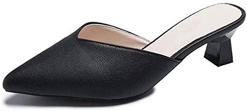 KKGASSAB Mujeres/Hombres en Zapatillas Soft Nonslip, Baotou Mald Skppers, Sandalias de talón Gruesas y Zapatillas, Outer Wearblack_3, Laves para Caminar Anti resbalones (Color : Black, Size : 3.5)